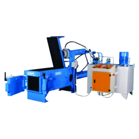 Double compression metal band baling press